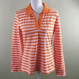 Tommy Hilfiger Orange Striped Long Sleeved Top L